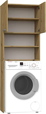 ADGO Pola Armoire pour machine à laver, armoire pour salle de bain, étagère de toilettes, sur-machine à laver, armoire de salle de bain, armoire haute (chêne artisan)