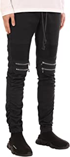 Men's Slim Fit Biker Jogger Pants with Shirring Detail