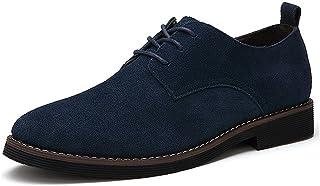 CCZZ Zapatos de Cordones de Ante para Hombre Zapatos de Cuero Casual Oxford