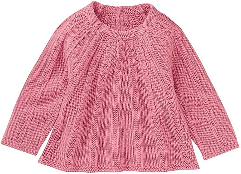 Infant Baby Boy Girl Fall Solid knit Wool Base Soft Long Loose Sweater Blouse Top 0-24 Months