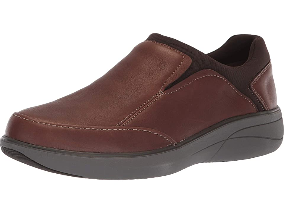 Clarks Un Rise Step (Mahogany Tumbled Leather) Men's Slip on Shoes