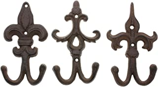 Comfify Set of 3 - Cast Iron Fleur De Lis Double Wall Hooks/Hangers - Decorative Wall Mounted Coat Hook - Rustic Cast Iron - with Screws and Anchors 7