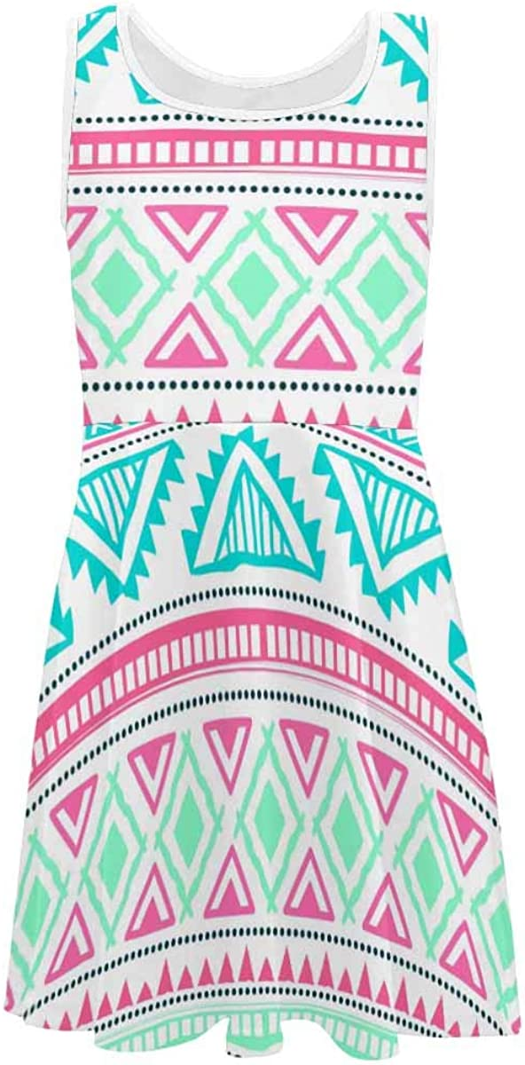 InterestPrint Girls Sleeveless Round Neck Dress Casual Party Dress Tribal Color Navajo Ethnic (2T-XL)