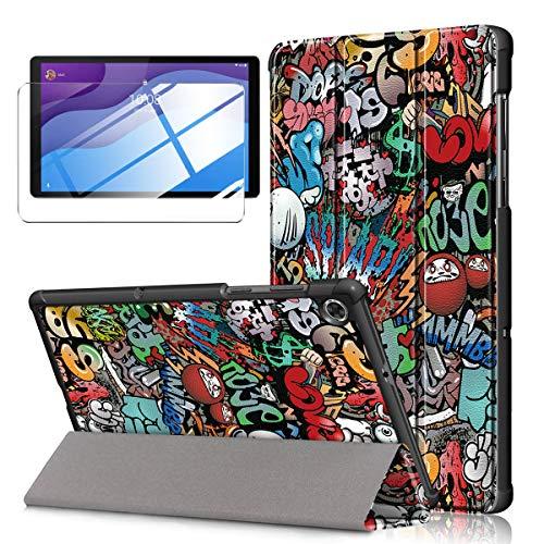 LYZXMY Custodia + Vetro Temperato per Lenovo Tab M10 HD (2nd Gen) 10.1' TB-X306F / TB-X306X - Pellicola Protettiva, Guscio Supporto Protettiva Tablet Cover in Pelle Flip PU Case - Graffiti