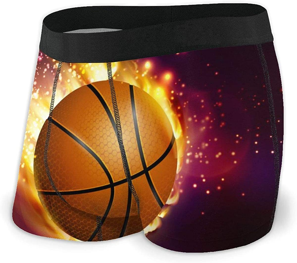 Mens Boxer Briefs Flying Basketball On Fire Breathable Underwear