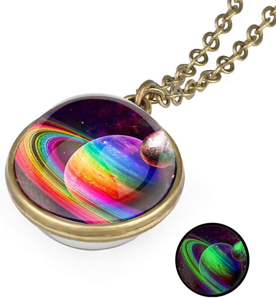 Tebapi Unisex Luminous Starry Sky Fantasy Galaxy Pendant Necklace Two Sides Art Picture Cabochon Astronomy Solar System Star Beautiful Necklace Lover Gift