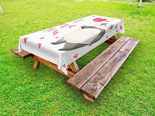 ABAKUHAUS Ik hou van jou Tafelkleed voor Buitengebruik, Panda Balloon, Decoratief Wasbaar Tafelkleed voor Picknicktafel, 58 x 84 cm, Dark Coral Ivoor Gray