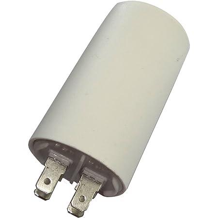 AERZETIX - Condensateur Permanent de Travail pour Moteur - 14µF 450V - ⌀40/70mm - à 4 cosses - Corps en Plastique Cylindrique Blanc - C18672