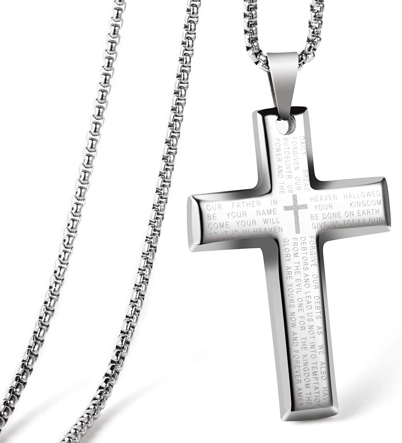 CHOLER Cross Necklace for Men Steel Pendant Lord's Prayer Religious Necklace