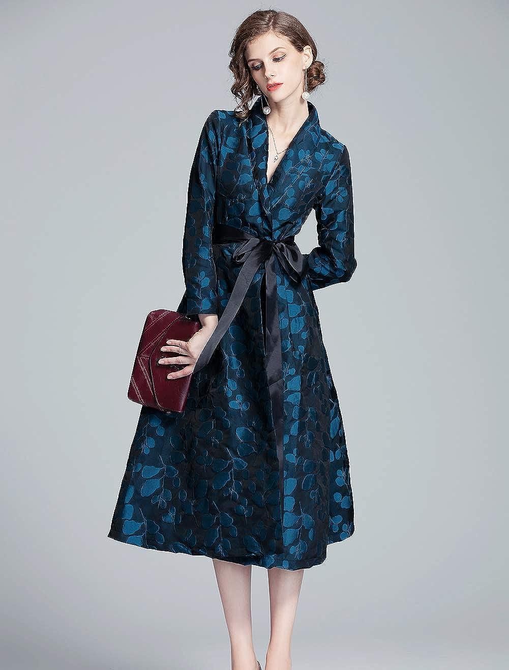 HAOKEKE Women Long Sleeves Dark Blue Leaves Pattern Windbreaker Coat Jacket Dress
