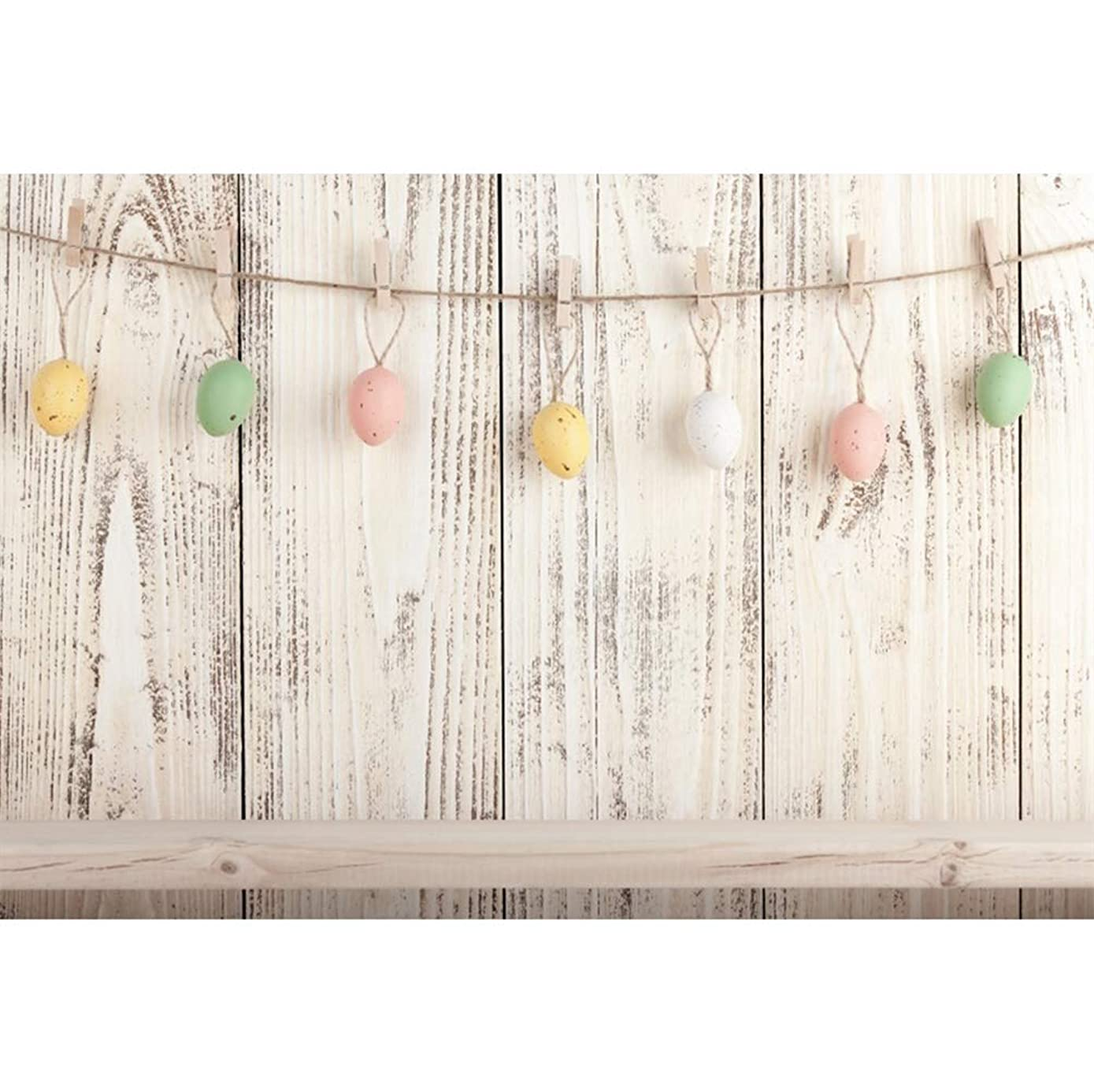 Laeacco 10x8ft Easter Theme Vinyl Photography Backdrop Hanging Easter Eggs Clothespins?Rustic Grunge Wood Plank Backdrops Wooden Wall Background Children Adults Newborn Portraits Production Photo