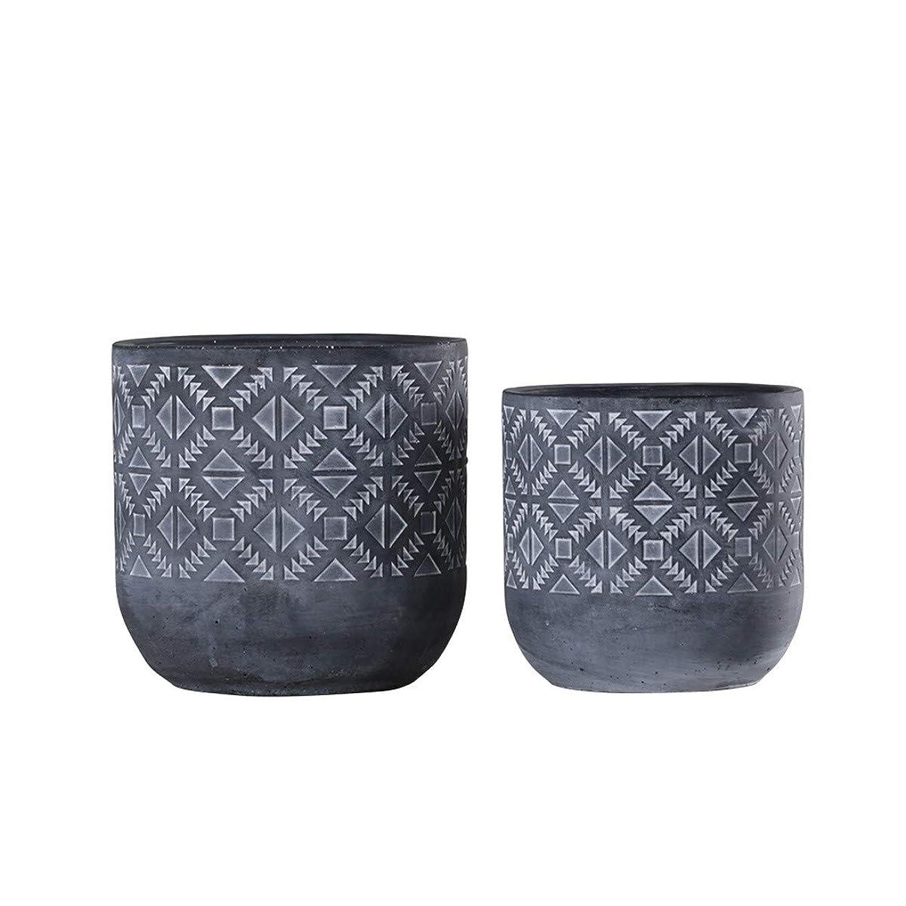 薄い介入するジェムQIANZICAI クリエイティブセメントポット、花瓶の装飾品、リビングルームの装飾、緑色植物ポット 軽量で頑丈な寒さ (Color : Large)