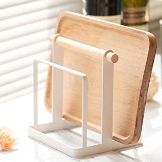 Chopping Cutting Board Holder Rack Pantry Organizer Display for Kitchen Cutting Board/Dish/Plate/Knife/Lid Stainless Steel and Wood Handle 2-Compartment