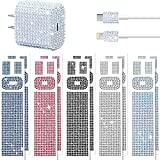 Outus 10 Pieces Rhinestones Wall Charger Stickers Bling Handmade USB Charger Crystal Decorations Artificial Diamond Charger Sticker Compatible with iPhone iPad Plug Power Adapter DIY for Women