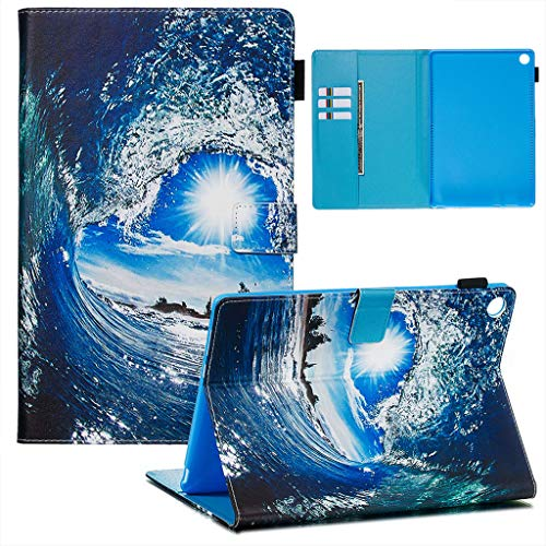 Careynoce Huawei MediaPad M5 10.8 Funda,Tigre Gato Sol Panda Pattern PU Cuero Cover Stand Flip Funda Carcasas para Huawei MediaPad M5 10.8 Tableta Funda - Olas Mar