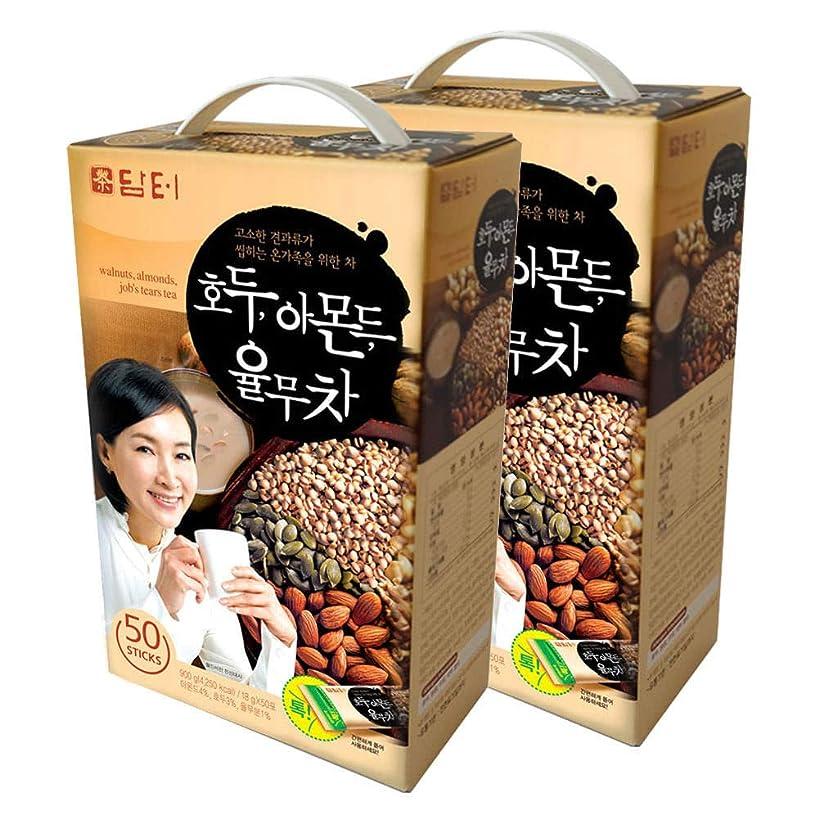 DAMTUH Walnut Almond Adlay Tea (Job's Tear), All Natural Tea Powder, 2 Boxes (50 Sticks X 2)