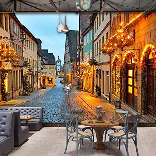Wongxl Die Straße Benutzerdefinierte Große Wandbilder 3D Wallpaper Von Tee Café Restaurant Hintergrund Wandpapier 3D Tapete Hintergrundbild Fresko Wandmalerei Wallpaper Mural 200cmX150cm