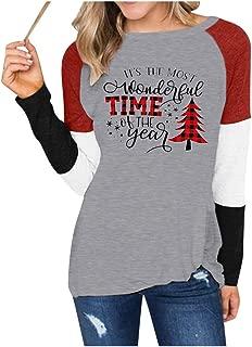 Women Casual Christmas Printing Shirts ,Striped Christmas Tree Plaid Raglan Long Sleeve Top T-Shirt Blouse