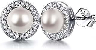 J.SHINE Woman Pearl Stud Earrings 925 Sterling Silver Earrings 3A 6mm Freshwater Cultured Ball Pearl Earrings with 20 Cubic Zirconia Surround