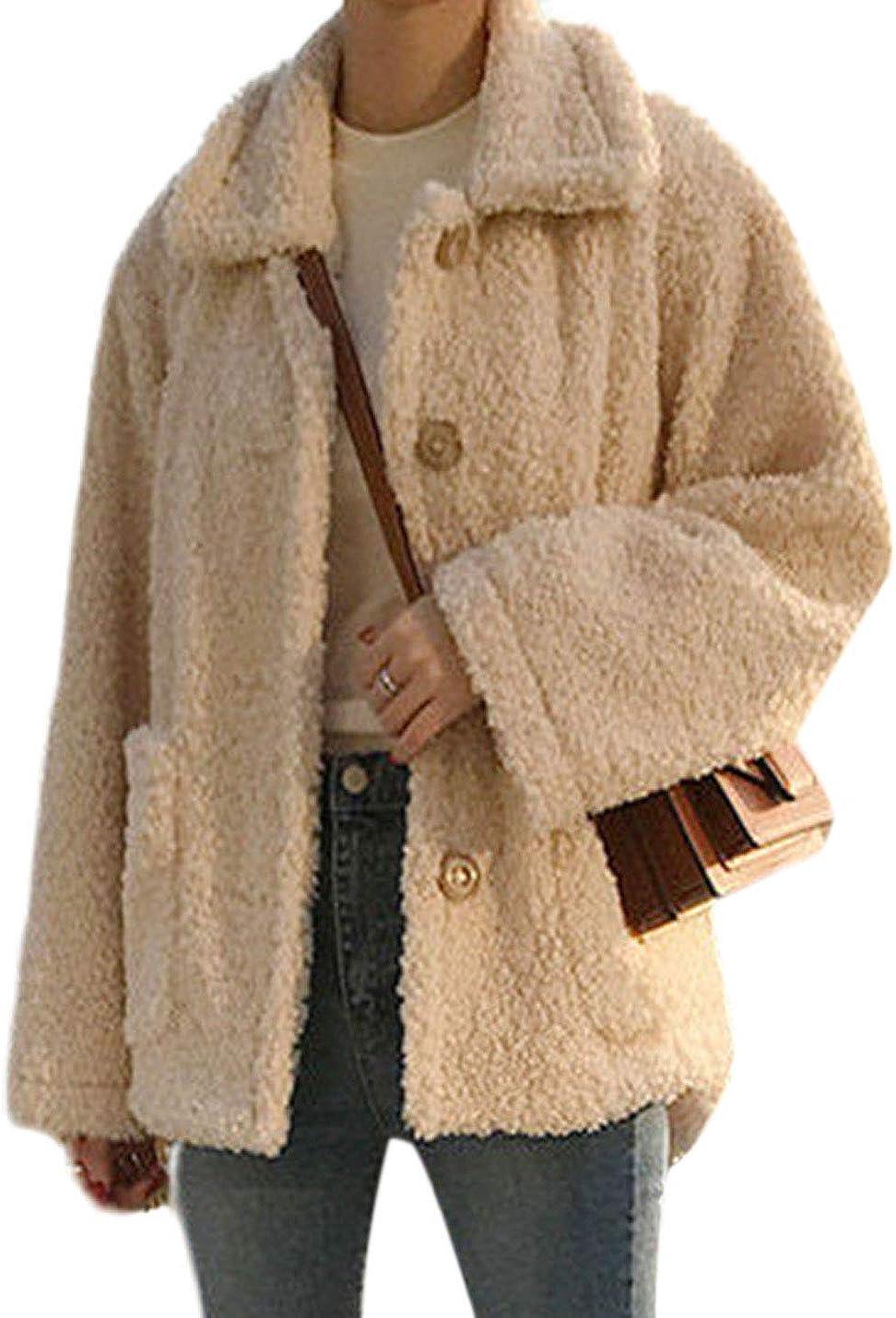Yeokou Womens Casual Fleece Sherpa Fluffy Shaggy Winter Warm Shearling Jackets Coats