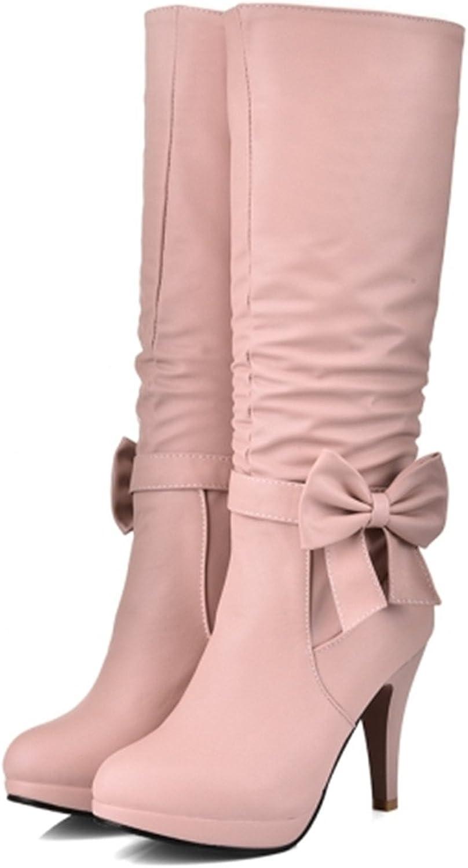 Kenavinca Plus Size 34-43 Women Boots Spike Heels Round Toe Knee Boots Woman shoes Female Boots Black White Pink bluee