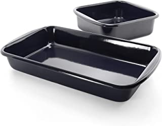 "Chantal Enameled Steel Bakeware 2 piece Baking Set, 8""x8""x3"" and 14""x8.5""x2.25"", Black"