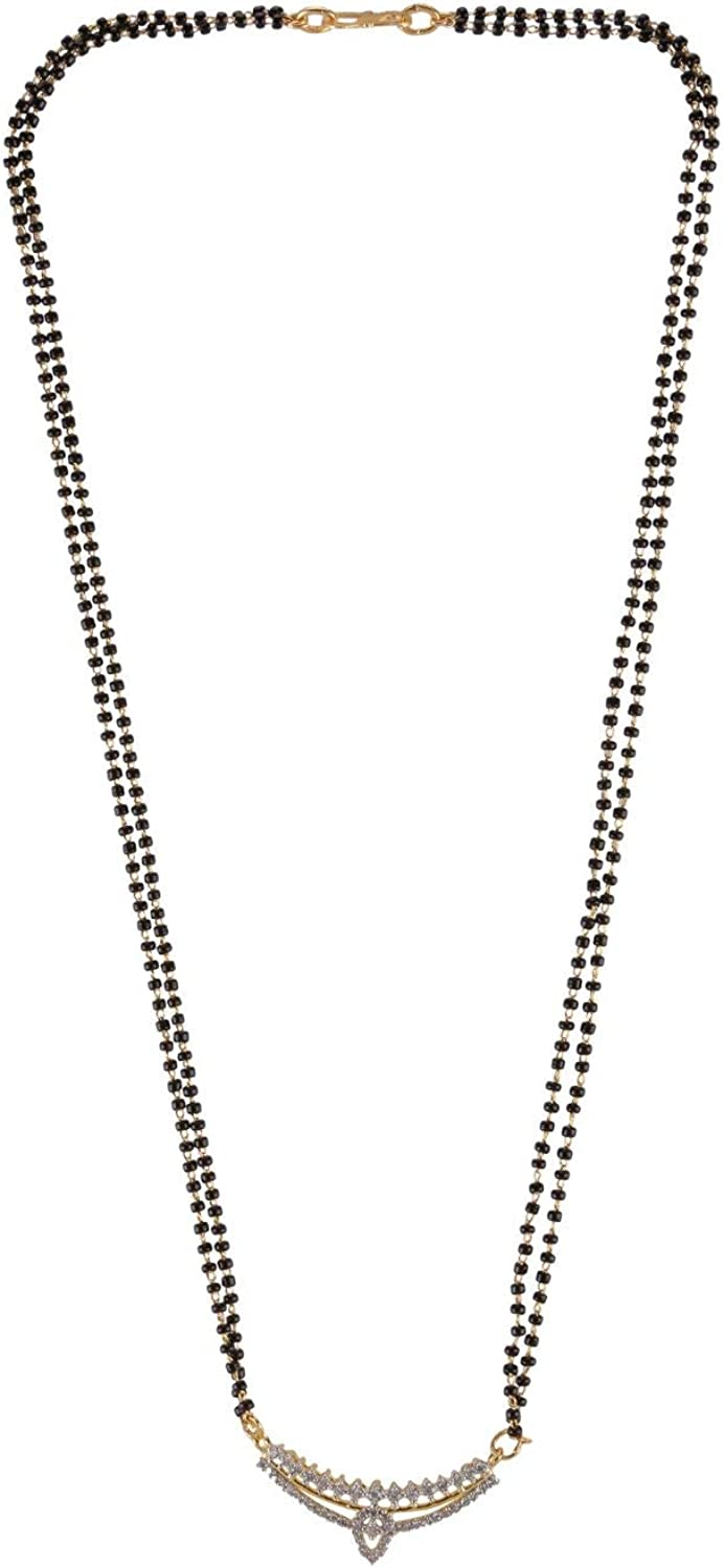Efulgenz Mangalsutra Indian Gold Tone Cubic Zirconia Traditional Black Beaded Pearl Pendant Necklace Jewelry