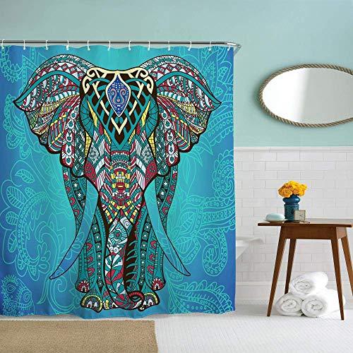 N\A Elefant Duschvorhang für Badezimmer mit Haken, blau Boho Boheme dekorative Lange Stoff Stoff Duschvorhang Bad Dekorationen, blau