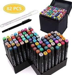 マーカーペン80色 イラストマーカー YunTech 豊富な色 太細両端 油性 ツインマーカー色ペン DIY 学習用 美術 絵描き 落書き 色塗り 子供大人 イラストや手帳に最適 収納ケース付き