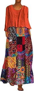 VEMOW Faldas Mujer Vestido Tops O-Cuello de la Vendimia del Punto de la impresión del Dos Piezas del Vestido Maxi Flojo Ve...