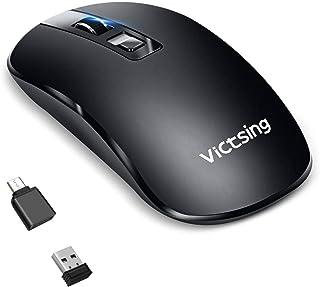 【2019更新版】マウス ワイヤレス 静音 充電式 2.4GHz USB 持ち運び便利 薄型 3DPIモード 光学式 高精度 無線マウス 有線/Notebook, PC, Laptop,Macbook,Linuxなど多機種対応/type-C変換アダプタ付属/TELEC認証取得済み【どのマシンでも動作】