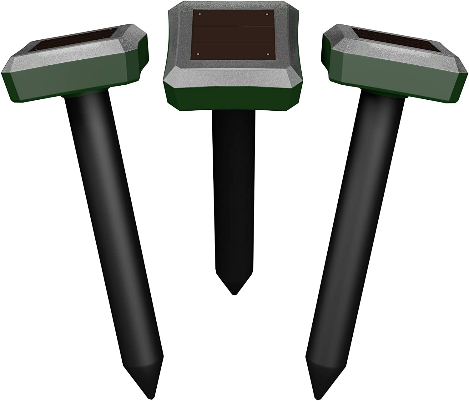 ONTROWA Solar Mole Repellent Ultrasonic 3 Pack Outdoor Powered Sonic Deterrent - Mole Stopper Scare Vole for Lawn Garden & Yard Home - Groundhog Repeller Snake Spikes Chaser Pest Control (Square)