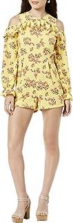 Womens Juniors Cold Shoulder Floral Print Romper