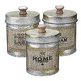 Set De Tarros De Vidrio La Tapa 3PCS Lamentable Metal De La Vendimia De Almacenamiento Del Tanque De Dulces Frutos Secos Botellas Crafts Jar Apto Para Cocina ( Color : Brown , Size : 3 x 10 cm )