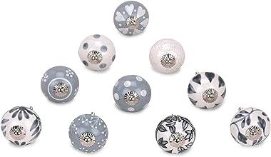GroupB Premium Quality Assorted Ceramic Knobs - Multi Color, Mix Designed Ceramic Cupboard Cabinet Door Knobs, Drawer Pulls &
