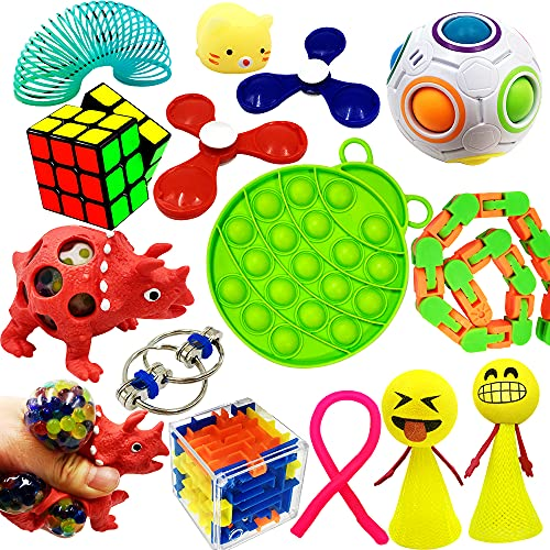 ToyerBee Pop Fidget Sensory Toys Set for Adults, Kids, ADHD, ADD, Anxiety Autism to Stress Relief and Anti-anxiety with Push Pop, Squishy, Stretchy Strings, Squeeze Balls, Perfect for Classroom Reward