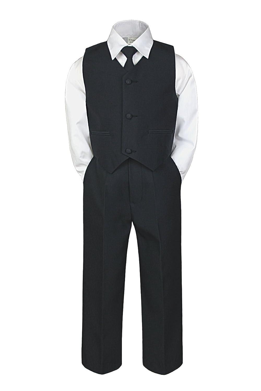 4pc Formal Baby Toddler Little Boys Black Vest Necktie Sets Suits S-7 (5)