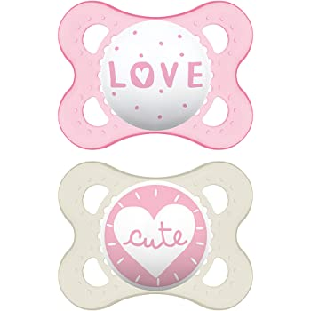 MAM Attitude Collection Pacifiers (2 pack, 1 Sterilizing Pacifier Case), MAM Pacifier 0-6 Months, Baby Pacifiers, Baby Girl, Best Pacifier for Breastfed Babies, Designs May Vary