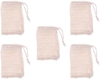 D DOLITY 5 Pieces Sisal Soap Bag with Drawstring Natural Soap Saver Pouch for Foaming, Drying Soaps, Exfoliation, Massage