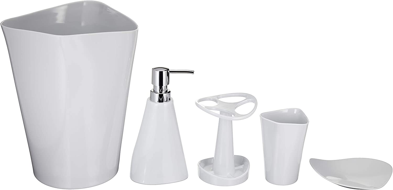 Amazon 4 years warranty Basics 5-Piece Max 90% OFF Bathroom Set Accessories Smooth White