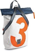 Rucksack, recyceltes Segeltuch, Weiß/Orange/Navy