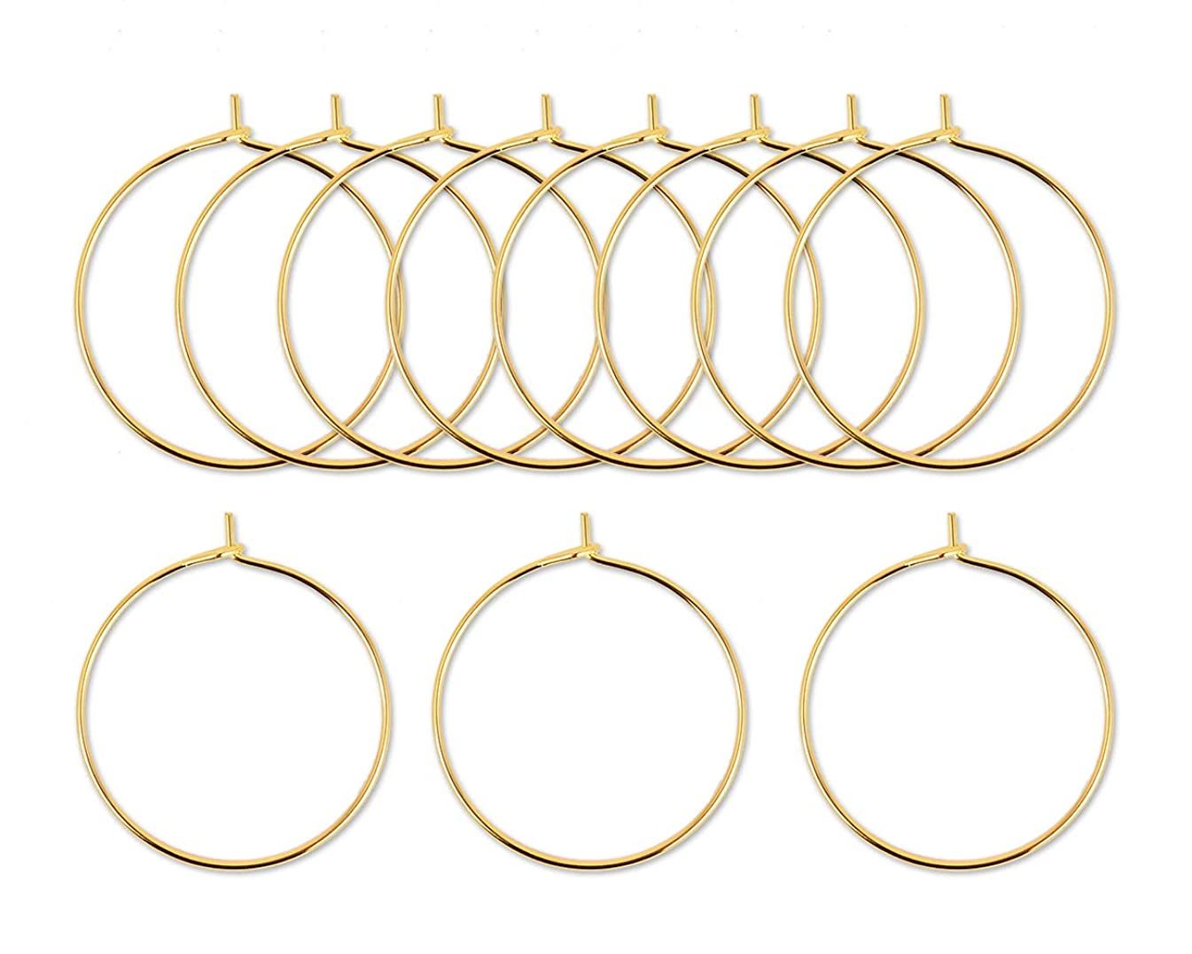 ACE SELECT Wine Glass Charms Rings Set of 300 Wire Hoop Beading Hoop for Glasses, Jewelry Making (Gold)