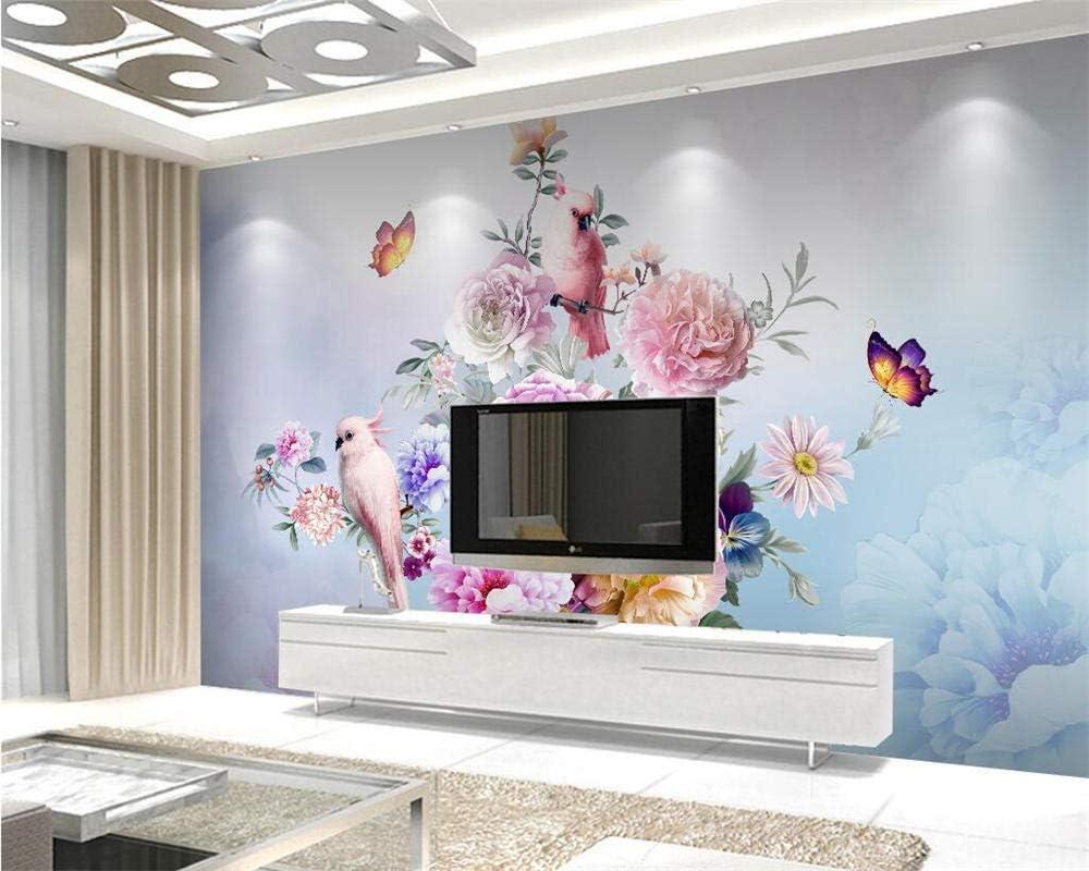 Custom excellence Opening large release sale 3D Wallpaper Hand-Painted Vintage Backgrou Rose Parrot Tv