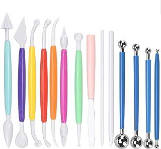 TANCUDER 14 PCS Outils de Modelage pour Pâtisserie, Outils de Pointage 4 Tailles Outils de Sculpture en Pâte à Modeler Pol...