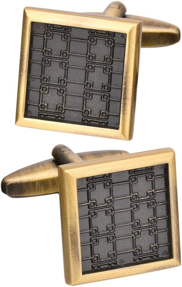 BO LAI DE Men's Cufflinks Copper Retro Square Pattern Cuff Links Suitable for Business Events, Meetings, Dances, Weddings, Tuxedos, Formal Wear, Shirts, with Gift Boxes