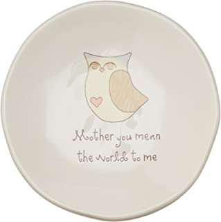 Pavilion Gift Company 78069 Heavenly Woods - Mother You Mean The World to Me Owl Jewelry Dish