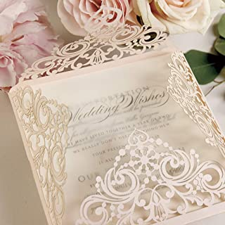 CAMPIONE partecipazione matrimonio fai da te Shabby chic GLITTER rose oro SET anniversario fidanzamento compleanno DIY car...
