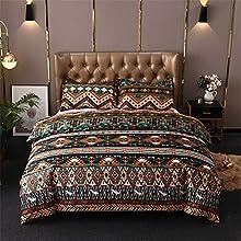 Chanyuan - Juego de ropa de cama bohemio (200 x 200 cm, 3 piezas, microfibra suave, bohemia, exótica, marrón, verde, geométrico, estampado de rayas vintage, funda nórdica con cremallera)