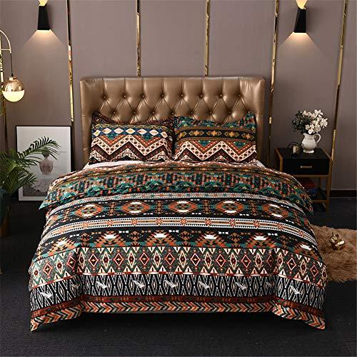 Chanyuan Juego de ropa cama bohemia, 135 x 200 cm, 2 piezas, diseño indio mandala, suave microfibra, bohemio, exótico, marrón y verde, geométrico, rayas, vintage, funda nórdica con cremallera