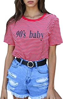 Red White Striped Women T-Shirt 90's Baby Print Short Sleeve Causal Tees Tops